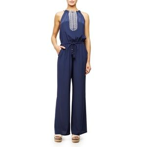 Tory Burch Embroidered Halter Silk Jumpsuit